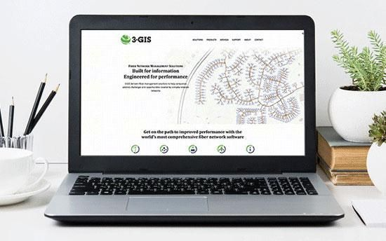 3-GIS website shown on laptop