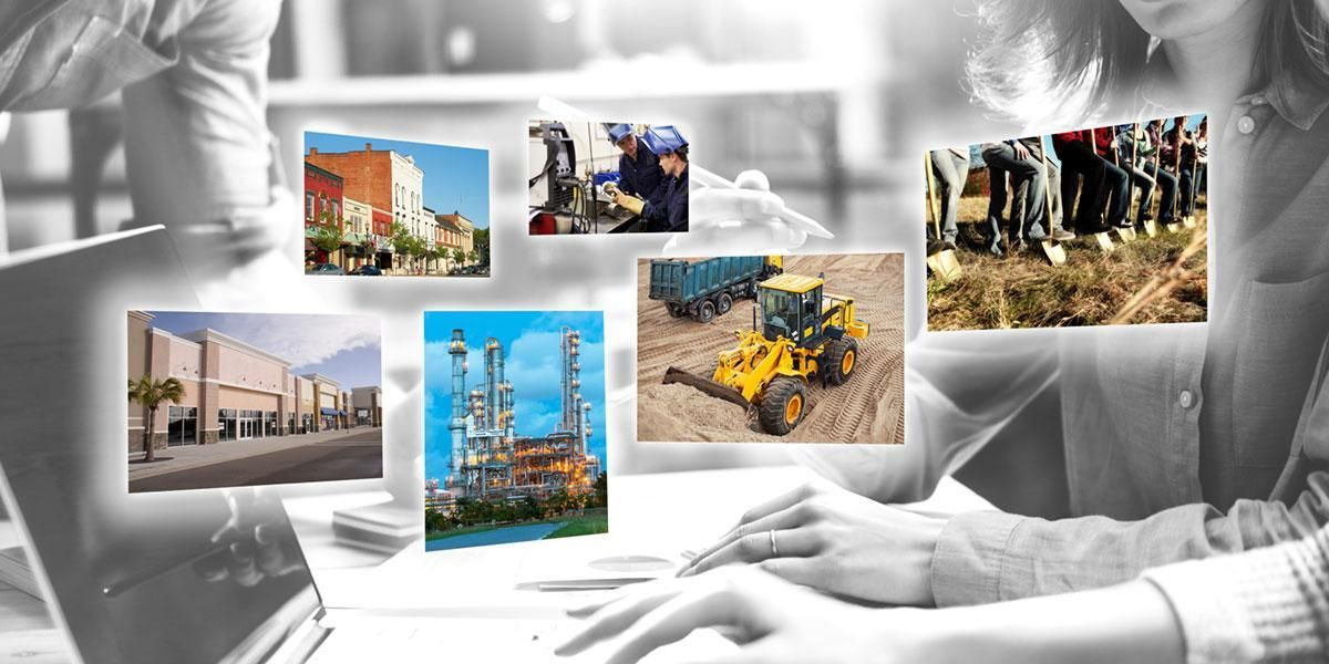 Collage of economic development images