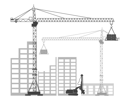 Cranes with skyscrapers in the background
